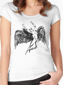 ICARUS THROWS THE HORNS - solid black NEW DESIGN Women's Fitted Scoop T-Shirt