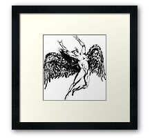 ICARUS THROWS THE HORNS - solid black NEW DESIGN Framed Print