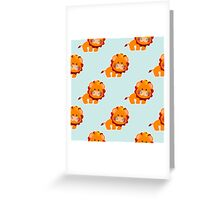 Baby pattern with a cute lion Greeting Card