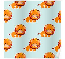 Baby pattern with a cute lion Poster