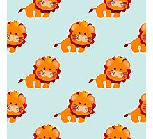 Baby pattern with a cute lion Photographic Print