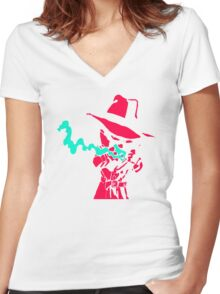 Smoke Calvin And Hobbes Women's Fitted V-Neck T-Shirt