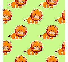 baby pattern with a cute little lion Photographic Print