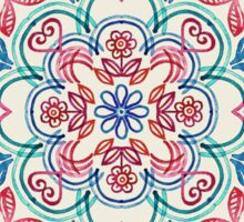 Pastel Blue, Pink & Red Watercolor Floral Pattern on Cream Sticker