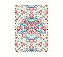 Pastel Blue, Pink & Red Watercolor Floral Pattern on Cream Art Print