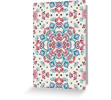Pastel Blue, Pink & Red Watercolor Floral Pattern on Cream Greeting Card