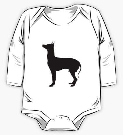 Gray hound dog silhouette One Piece - Long Sleeve