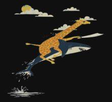 Giraffe riding shark  One Piece - Short Sleeve