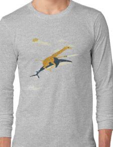 Giraffe riding shark  Long Sleeve T-Shirt