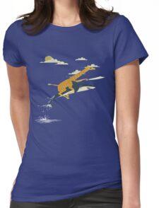 Giraffe riding shark  Womens Fitted T-Shirt