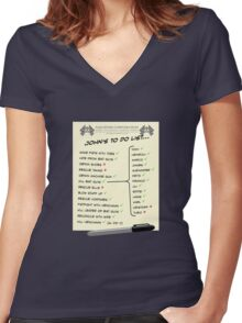 John McClane's To Do List Women's Fitted V-Neck T-Shirt