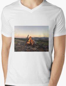 Scenic Flames Mens V-Neck T-Shirt