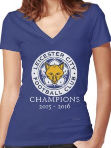 Leicester City - Champions 2015 - 2016 Women's Fitted V-Neck T-Shirt