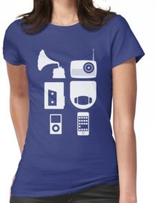 The History Of Portable Music Devices in Six Easy Steps Womens Fitted T-Shirt