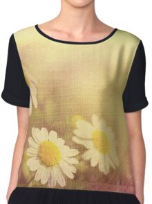 Vintage camomiles on a woven cloth Chiffon Top