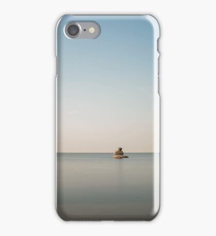 The sun began to sink over the horizon iPhone Case/Skin