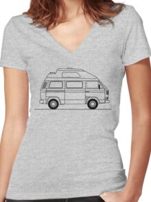 Transporter Hightop camper line art Women's Fitted V-Neck T-Shirt