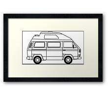 Transporter Hightop camper line art Framed Print
