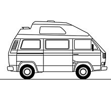 Transporter Hightop camper line art Photographic Print
