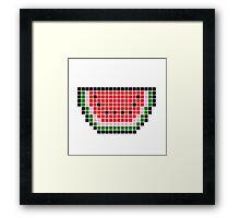 8 bit pixel watermelon Framed Print