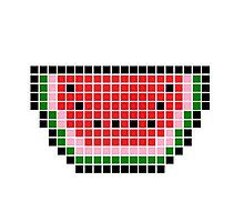 8 bit pixel watermelon Photographic Print