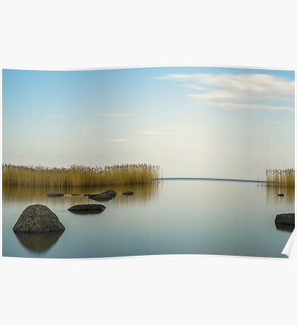 the blue sky is reflected Ladoga lake Poster