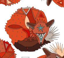 curled fox polka mint Sticker