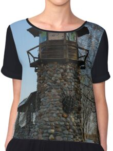 old lighthouse at sunset among the trees Chiffon Top