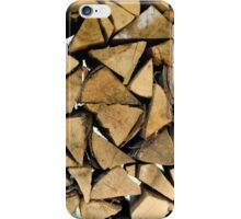 background of many logs and timbers of woodpile  iPhone Case/Skin