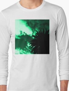 Palm Tree Silhouette - Green Sunset Long Sleeve T-Shirt