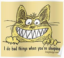 Cat Does Bad Things When You Sleep Humor Poster