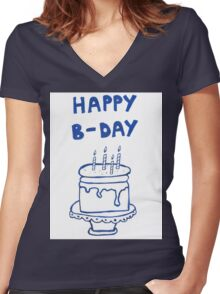 Happy birthday card with cake  Women's Fitted V-Neck T-Shirt