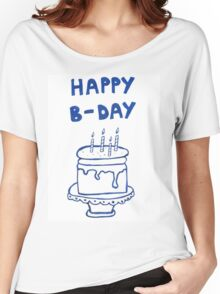 Happy birthday card with cake  Women's Relaxed Fit T-Shirt