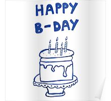 Happy birthday card with cake  Poster