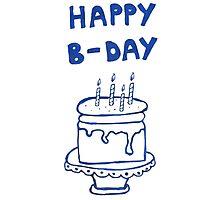 Happy birthday card with cake  Photographic Print