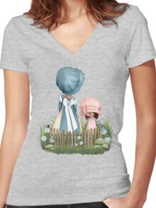 Mother and daughter  Women's Fitted V-Neck T-Shirt