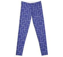 White Tetris Pattern Leggings