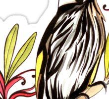 Honeyeater bird with grevillea flowers Sticker