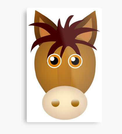 Horse face cartoon Metal Print