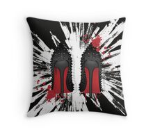 Spiked LOUBOUTIN shoes with red drips  Throw Pillow