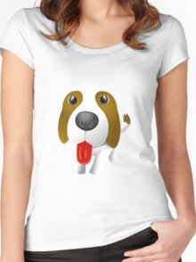 cartoon dog showing tongue Women's Fitted Scoop T-Shirt