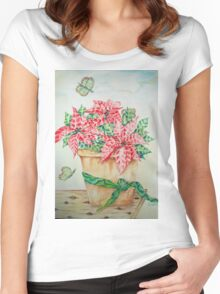 Poinsettia Women's Fitted Scoop T-Shirt