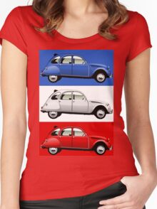 Citroën 2CV red, white and blue Women's Fitted Scoop T-Shirt