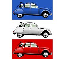 Citroën 2CV red, white and blue Photographic Print