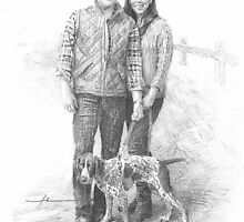 hiking couple w/dog drawing by Mike Theuer