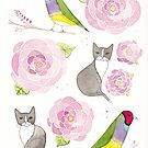 Gouldian Finches and Cats Floral Pattern by Ryan Conners