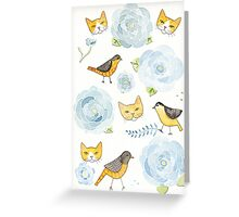 Springtime Birds and Cats Greeting Card