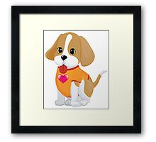Cute Baby dog with love Framed Print