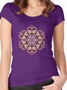 Mandala of bordo and yellow colors Women's Fitted Scoop T-Shirt