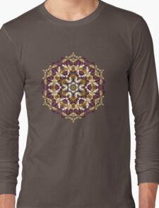 Mandala of bordo and yellow colors Long Sleeve T-Shirt